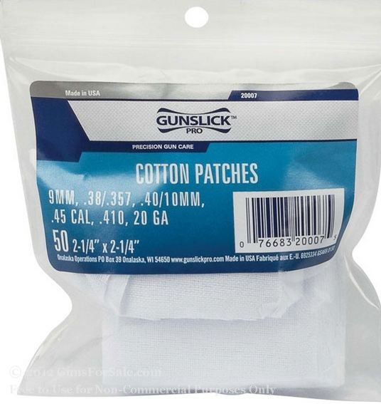Gun Cleaning Cotton Patches - Gunslick - 9mm - 45 ACP - 50 patches