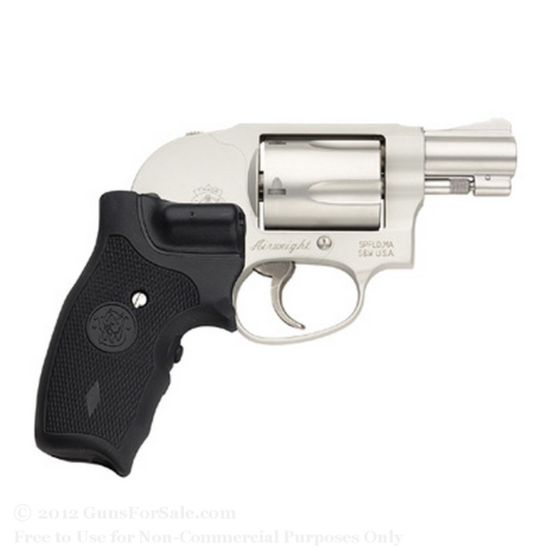 "Smith & Wesson 638 Revolver - Crimson Trace Lasergrip - 38 Special +P - 5 Rd - 1.875"" Barrel - Matte Silver Finish -  Fixed Sights"