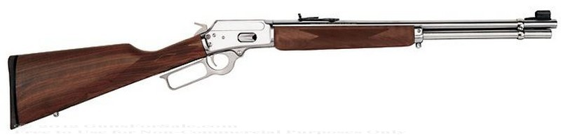 Marlin - 44 Mag/44 S&W Special - Walnut Finished Stock - Stainless Steel - 10 Rd Tubular Magazine - Adjustable Sights