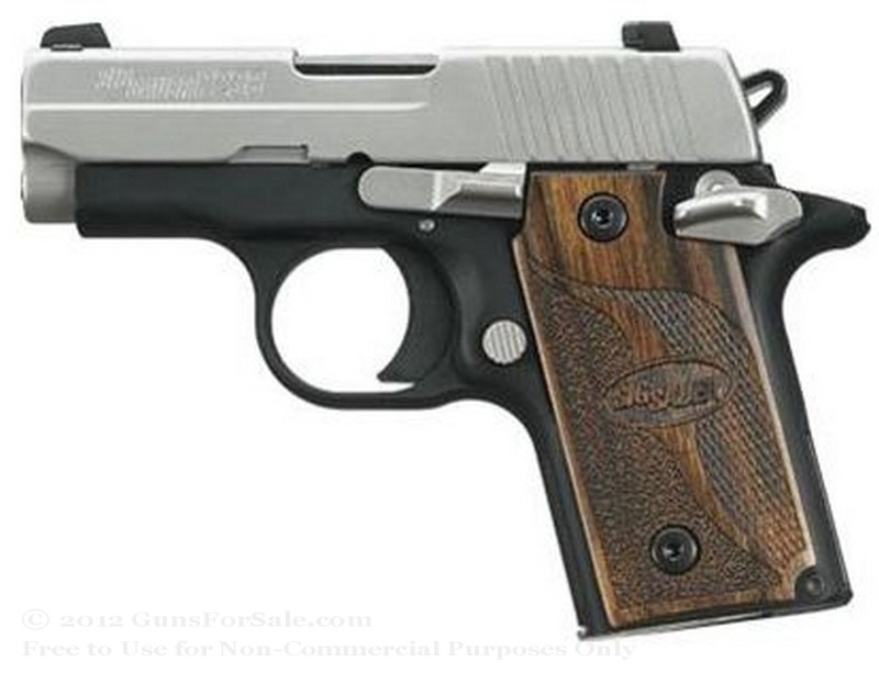 SIG SAUER P238 - 380 ACP SAS- Rosewood Grips - 6 Rd Magazine - Night Sights
