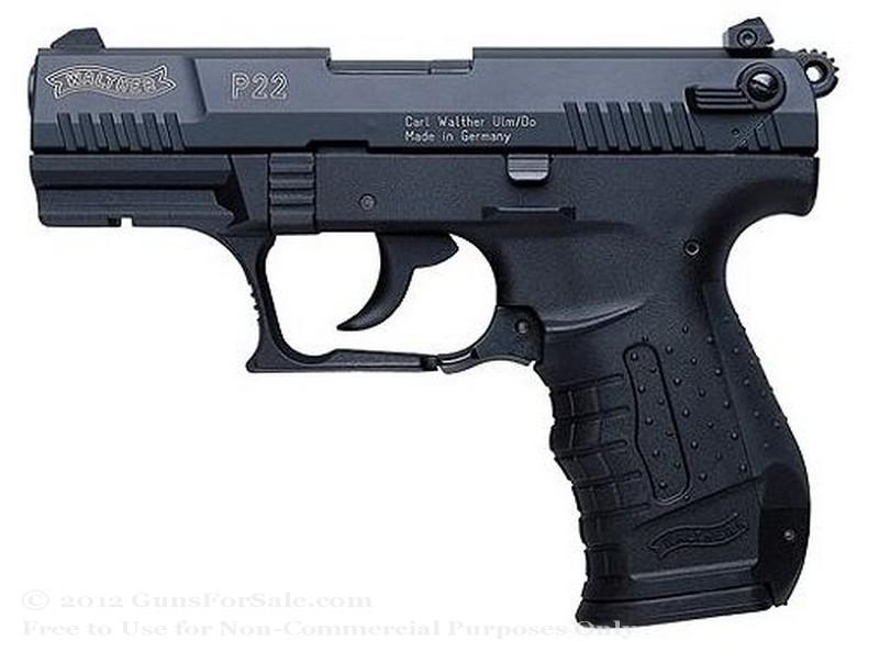 "Walther P22 - 22 LR - 3.4"" Barrel - Black Finish - 10 Rd Magazine - 3-Dot Steel Sights"