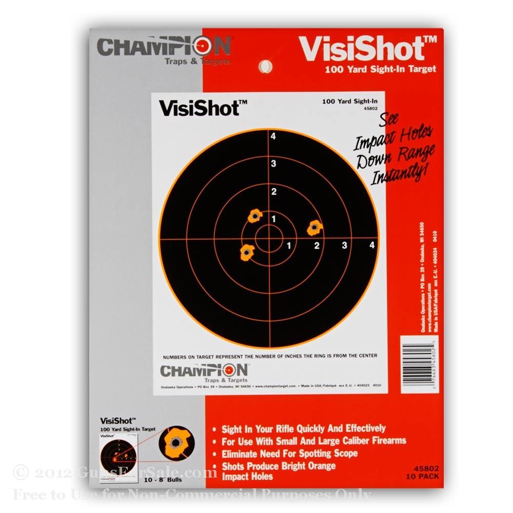 "Champion 8"" Reactive VisiShot Bull's Eye Paper Targets - 10"