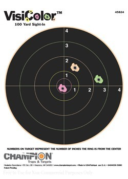 "Champion Reactive VisiColor Sight-In 8"" Bull's Eye Paper Targets - 10"