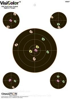 Champion Reactive VisiColor Sight-In with Four Extra Bull's Eye Paper Targets - 10