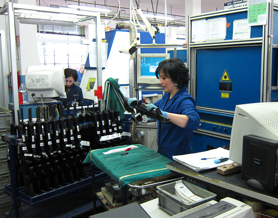 Workers assembling Cx4 Carbines at the Beretta factory in Italy.
